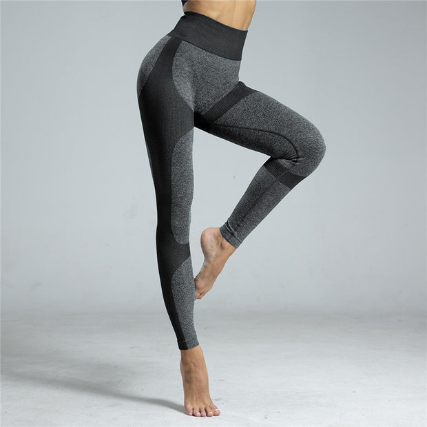 High Waisted Contrast Patchwork Leggings in Black | Allure Apparel Co