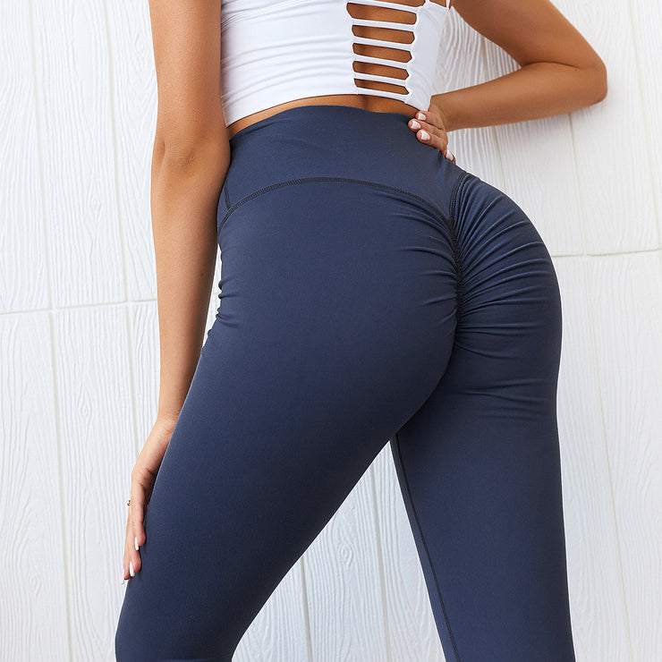 Subdued High Waisted Scrunch Leggings in Gulf Blue | Allure Apparel Co