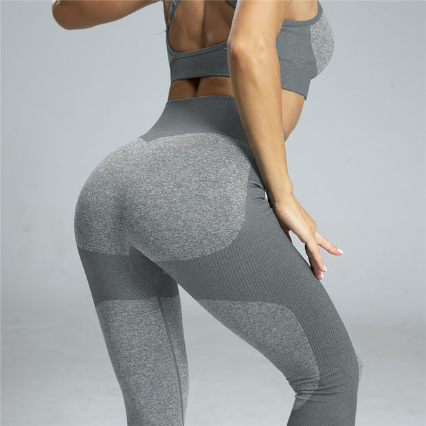 High Waisted Contrast Patchwork Leggings in Gray | Allure Apparel Co
