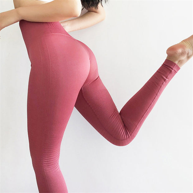 High Waisted Seamless Ribbed Yoga Leggings in Popstar | Allure Apparel Co
