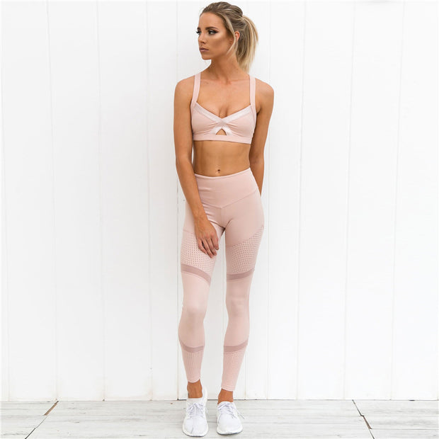 Push Up Mesh Striped Netted Leggings in Pink | Allure Apparel Co
