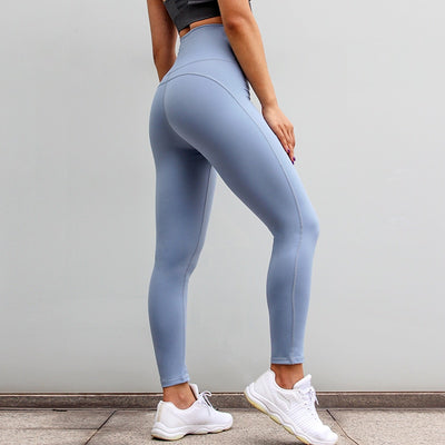 High Waisted Fitness Push Up Scrunch Workout Leggings Pants in Grayish Blue | Allure Apparel Co