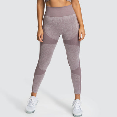 High Waisted Push Up Patchwork Leggings in Mauve | Allure Apparel Co