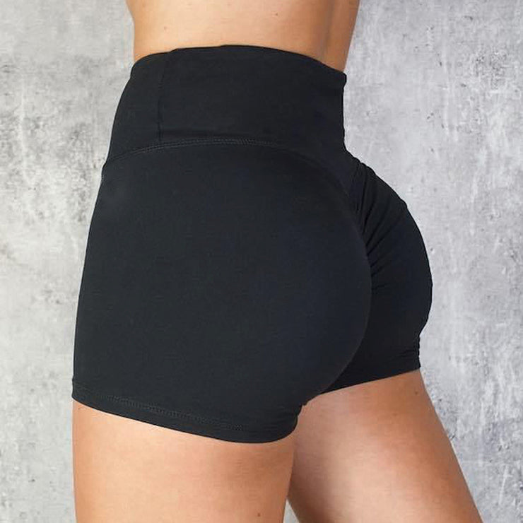 High Waisted Bottom Scrunch Legging Shorts in Black | Allure Apparel Co