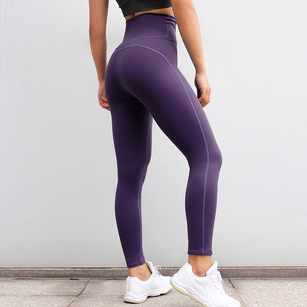 High Waisted Fitness Push Up Scrunch Workout Leggings Pants in Plum Purple | Allure Apparel Co