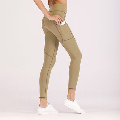 High Waisted Workout Fitness Side Pocket Leggings in Light Taupe | Allure Apparel Co