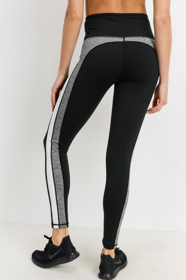 High Waisted Layer Striped Color Block Leggings | Allure Apparel Co