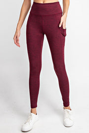 High Waisted Subtle Side Pocket Yoga Leggings in Burgundy | Allure Apparel Co
