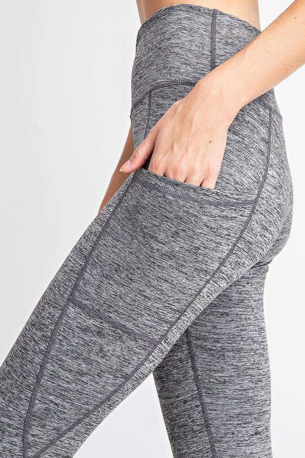 High Waisted Subtle Side Pocket Yoga Leggings in Dark Heather Grey | Allure Apparel Co