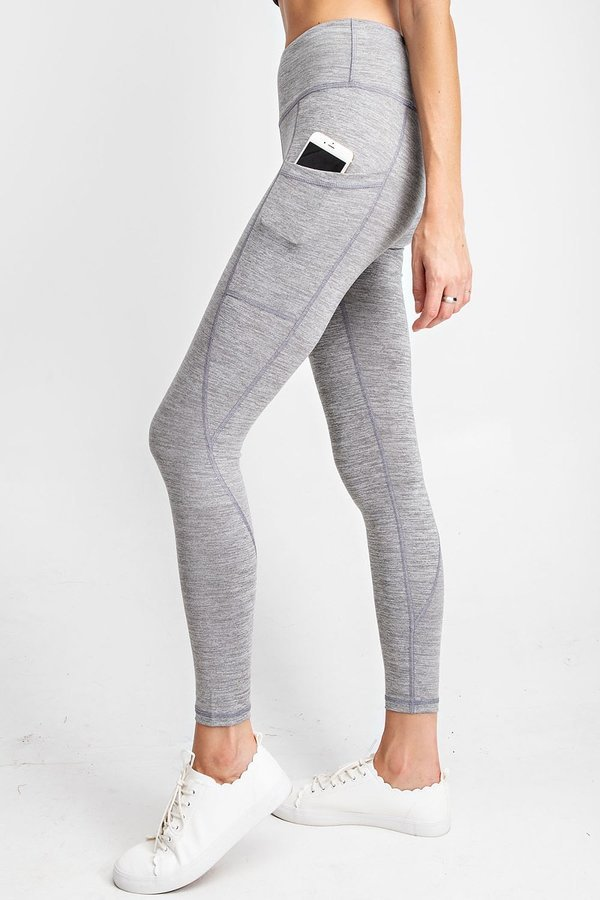 High Waisted Subtle Side Pocket Yoga Leggings in Light Heather Grey | Allure Apparel Co