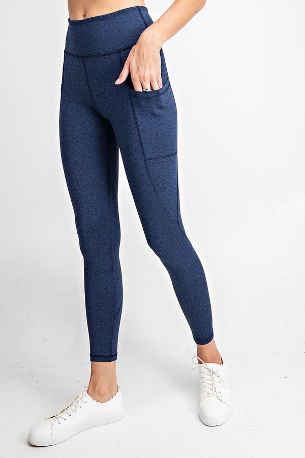 High Waisted Subtle Side Pocket Yoga Leggings in Navy | Allure Apparel Co