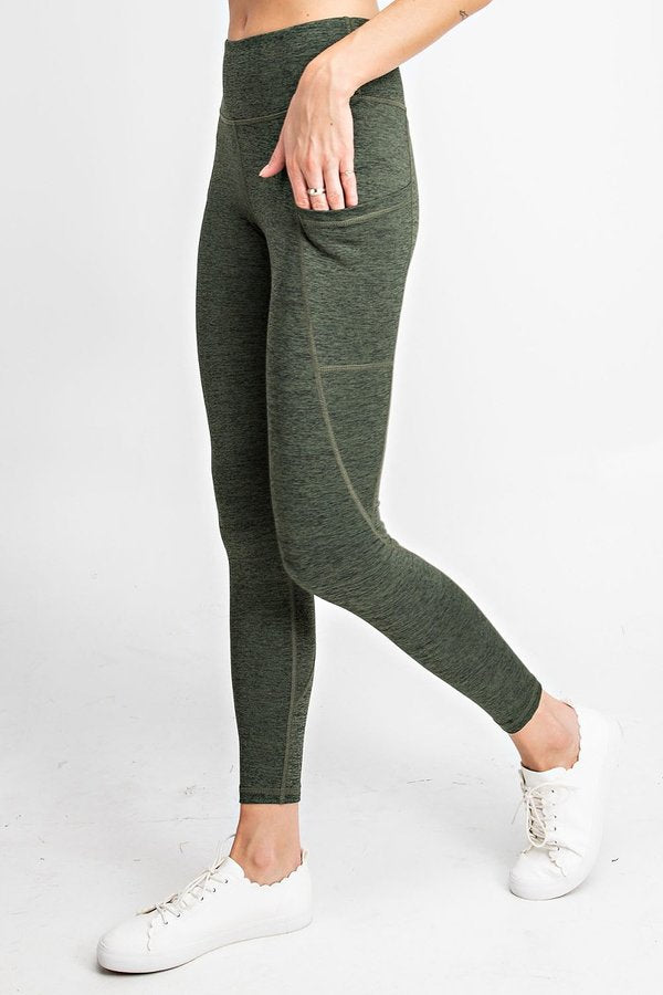 High Waisted Subtle Side Pocket Yoga Leggings in Olive | Allure Apparel Co