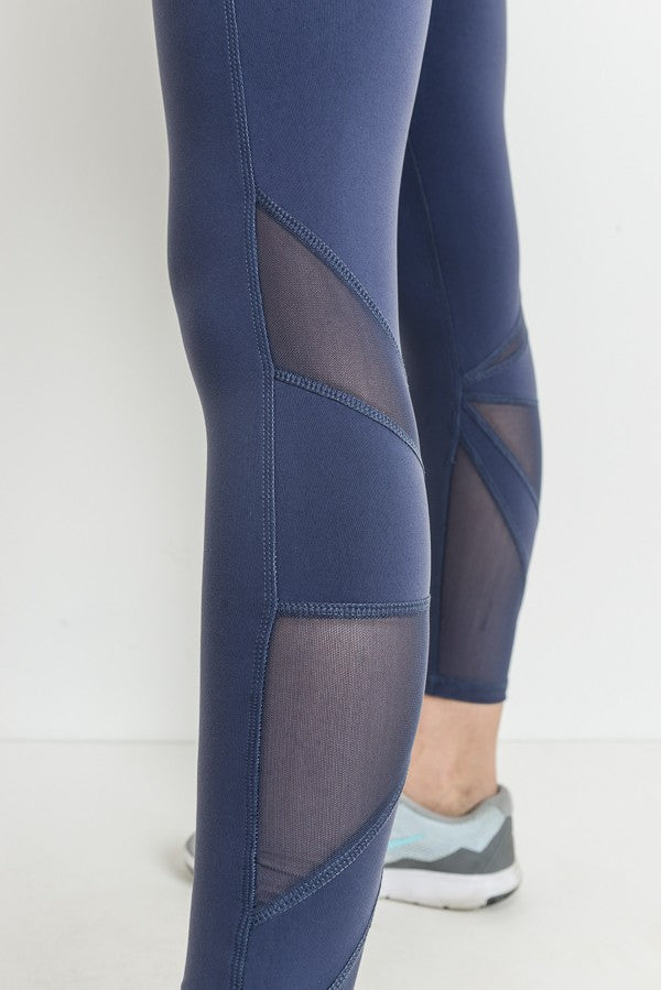 Star Mesh Full Leggings in Deep Blue Grey | Allure Apparel Co