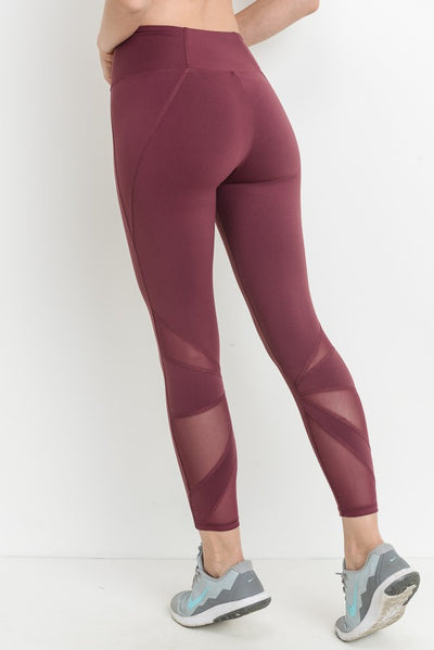 Star Mesh Full Leggings in Deep Plum | Allure Apparel Co