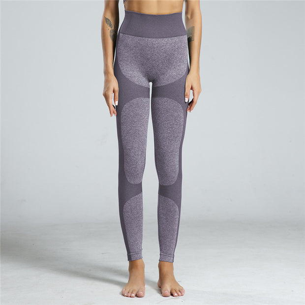High Waisted Contrast Patchwork Leggings in Light Purple | Allure Apparel Co