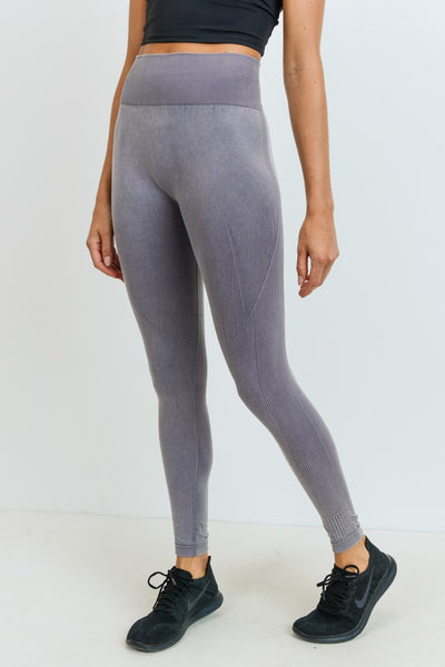 High Waisted Seamless Ribbed Full Leggings in Mauve | Allure Apparel Co