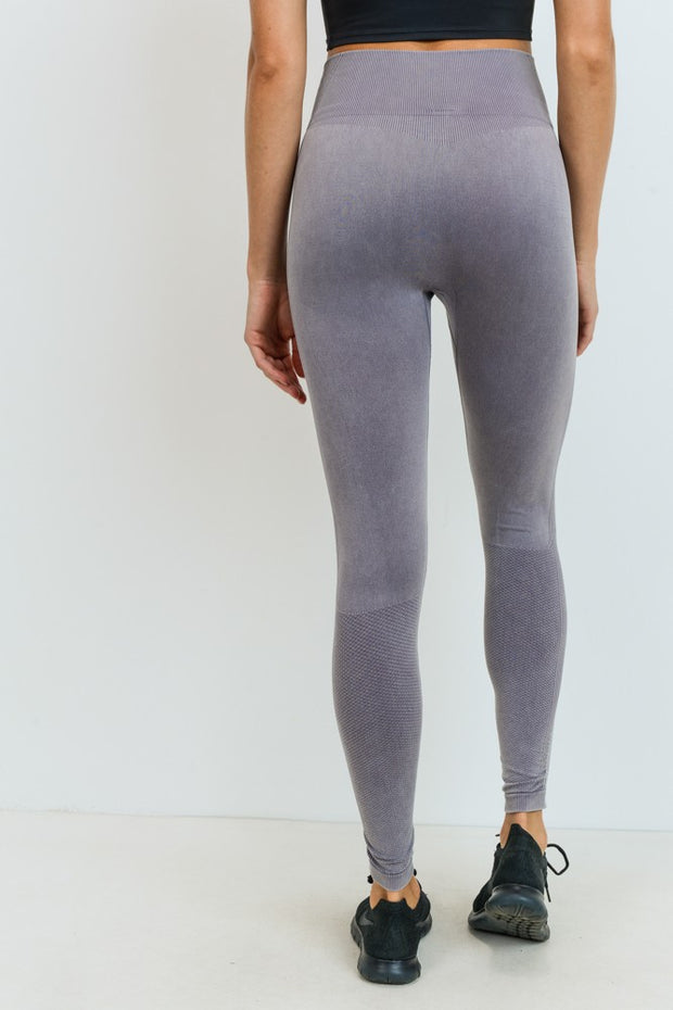 Ribbed & Dotted Seamless High Waisted Leggings in Mauve | Allure Apparel Co