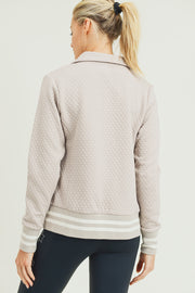 Honeycomb Quilted Varsity Active Jacket in Natural | Allure Apparel Co