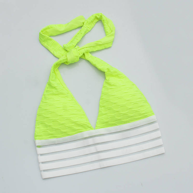 Push Up Workout Sports Bra in Fluorescent Yellow | Allure Apparel Co
