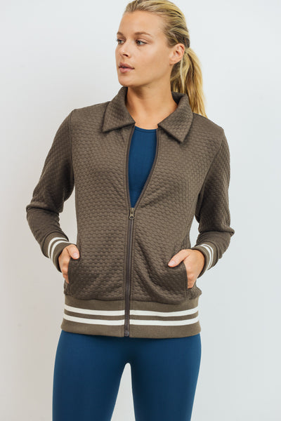 Honeycomb Quilted Varsity Active Jacket in Olive | Allure Apparel Co