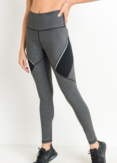 Premium Performance High Waisted Color Block Contrast Leggings