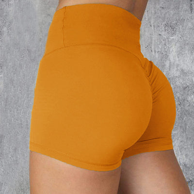 High Waisted Bottom Scrunch Legging Shorts in Orange | Allure Apparel Co