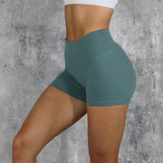 High Waisted Bottom Scrunch Legging Shorts in Blue | Allure Apparel Co