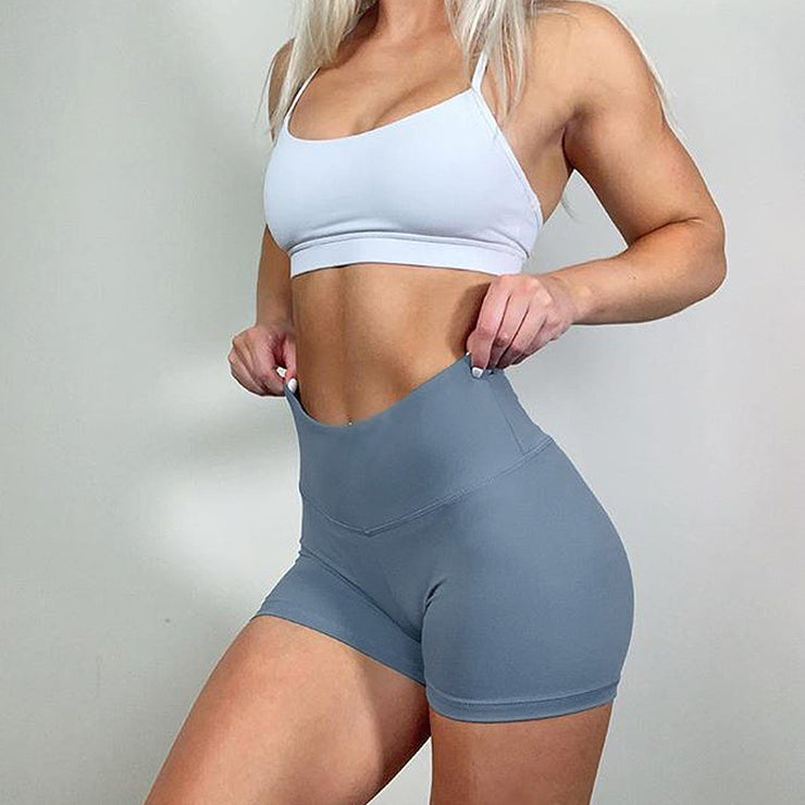 High Waisted Bottom Scrunch Legging Shorts in Gray | Allure Apparel Co