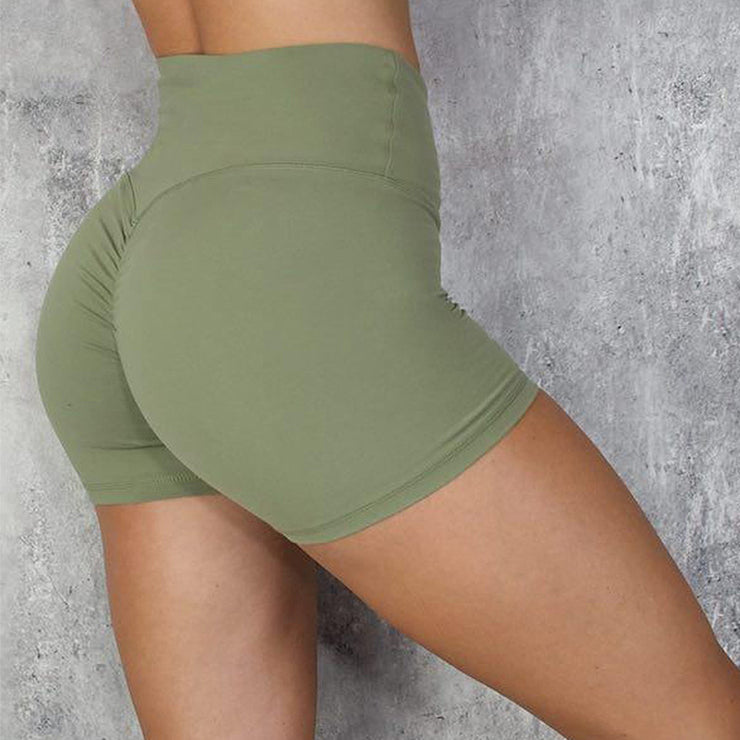High Waisted Bottom Scrunch Legging Shorts in Green | Allure Apparel Co