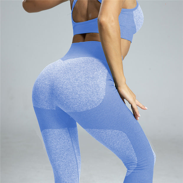 High Waisted Contrast Patchwork Leggings in Sky Blue | Allure Apparel Co