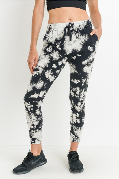 Acid Wash Capri Joggers in Black/White | Allure Apparel Co