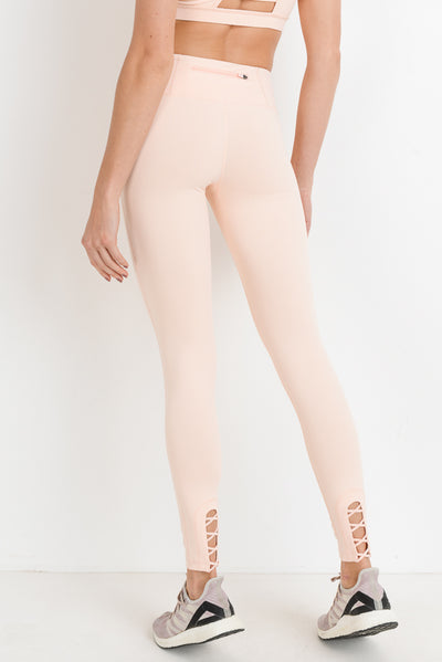 Criss-Cross Cut Out Full Leggings in Blush | Allure Apparel Co