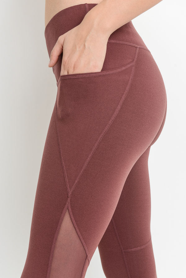 Our Mesh Overlay Pocket Capri Leggings in Deep Plum | Allure Apparel Co
