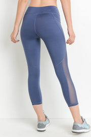 Mesh Overlay Pocket Capri Leggings in Denim Blue | Allure Apparel Co
