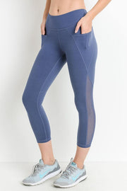 Our Mesh Overlay Pocket Capri Leggings in Denim Blue | Allure Apparel Co