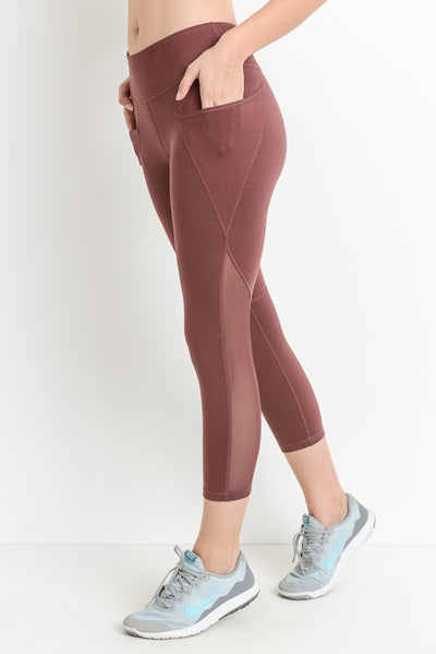 Mesh Overlay Pocket Capri Leggings in Deep Plum | Allure Apparel Co