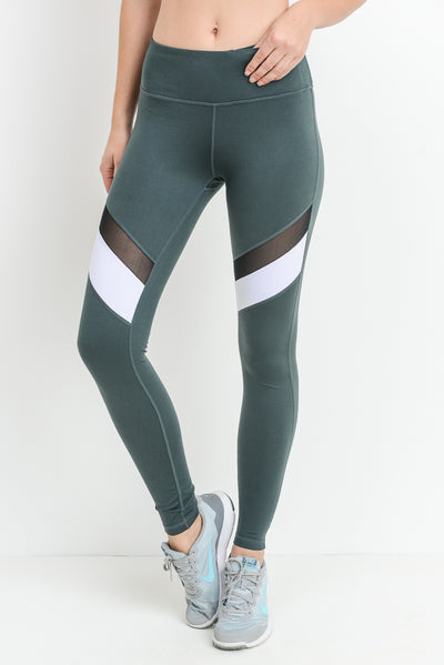 Colorblock Mesh Full Leggings in Dark Emerald | Allure Apparel Co