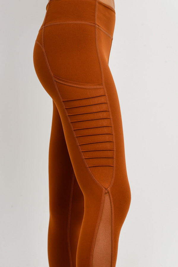 Moto Ribbed Splice Mesh Pocket Leggings in Acorn | Allure Apparel Co