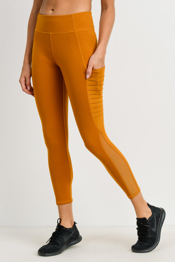 Moto Ribbed Splice Mesh Pocket Leggings in Ambergold | Allure Apparel Co