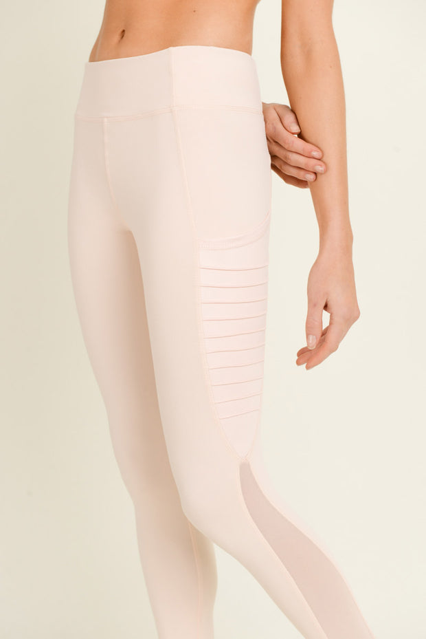 Moto Ribbed Splice Mesh Pocket Leggings in Blush | Allure Apparel Co