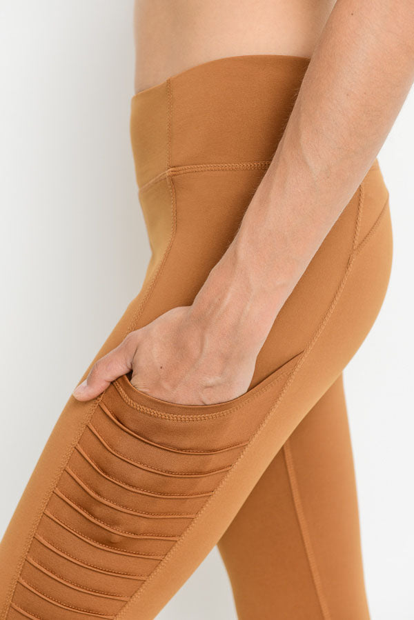 Moto Ribbed Splice Mesh Pocket Leggings in Coco | Allure Apparel Co