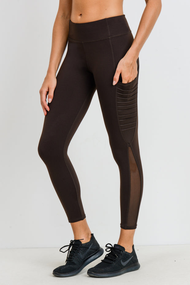 Moto Ribbed Splice Mesh Pocket Leggings in Coffee | Allure Apparel Co