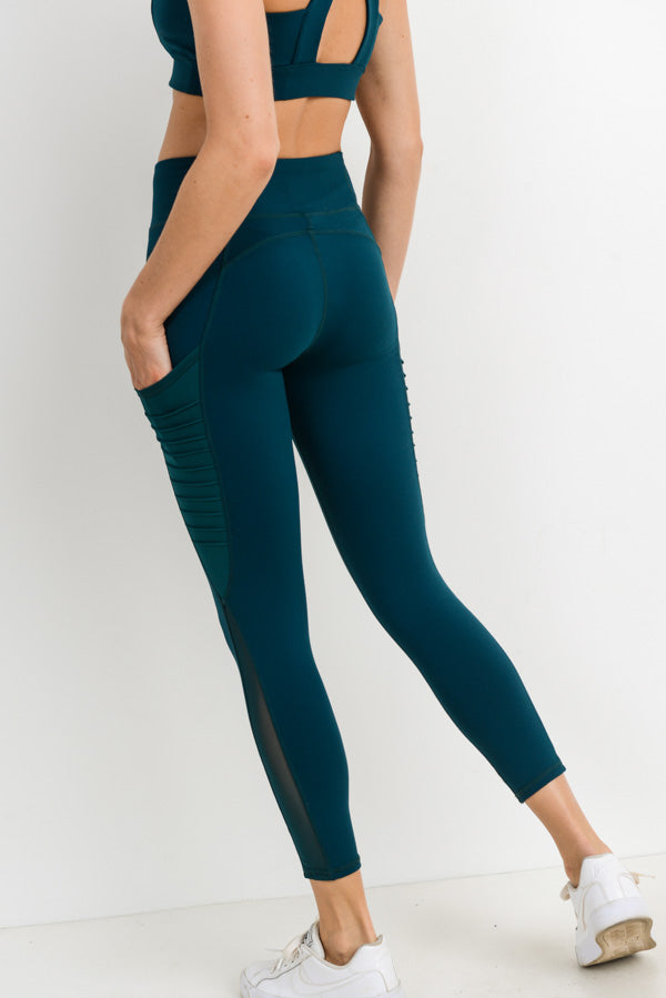 Moto Ribbed Splice Mesh Pocket Leggings in Forest Green | Allure Apparel Co