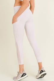 Moto Ribbed Splice Mesh Pocket Leggings in Light Pink | Allure Apparel Co