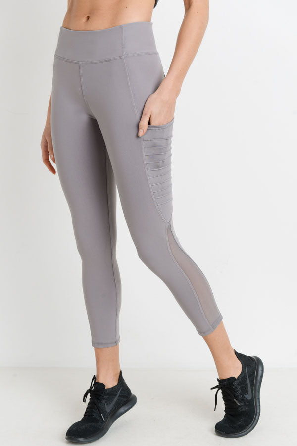 Moto Ribbed Splice Mesh Pocket Leggings in Mauve | Allure Apparel Co