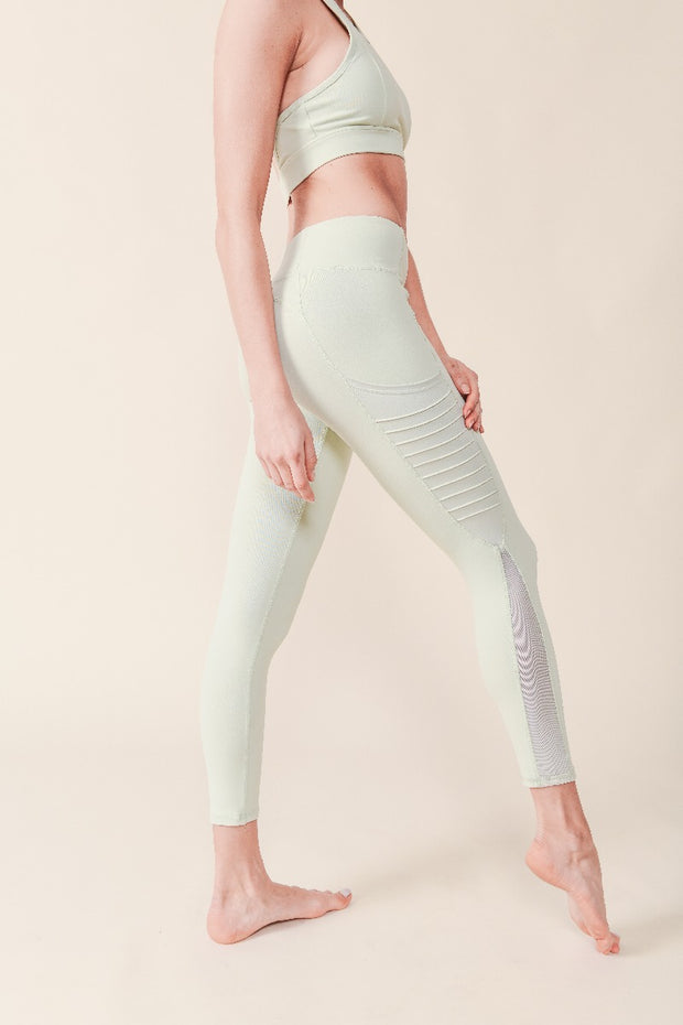 Moto Ribbed Splice Mesh Pocket Leggings in Mint | Allure Apparel Co