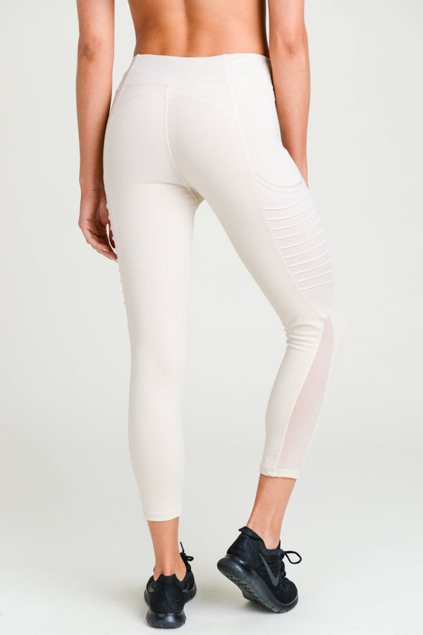 Moto Ribbed Splice Mesh Pocket Leggings in Natural | Allure Apparel Co