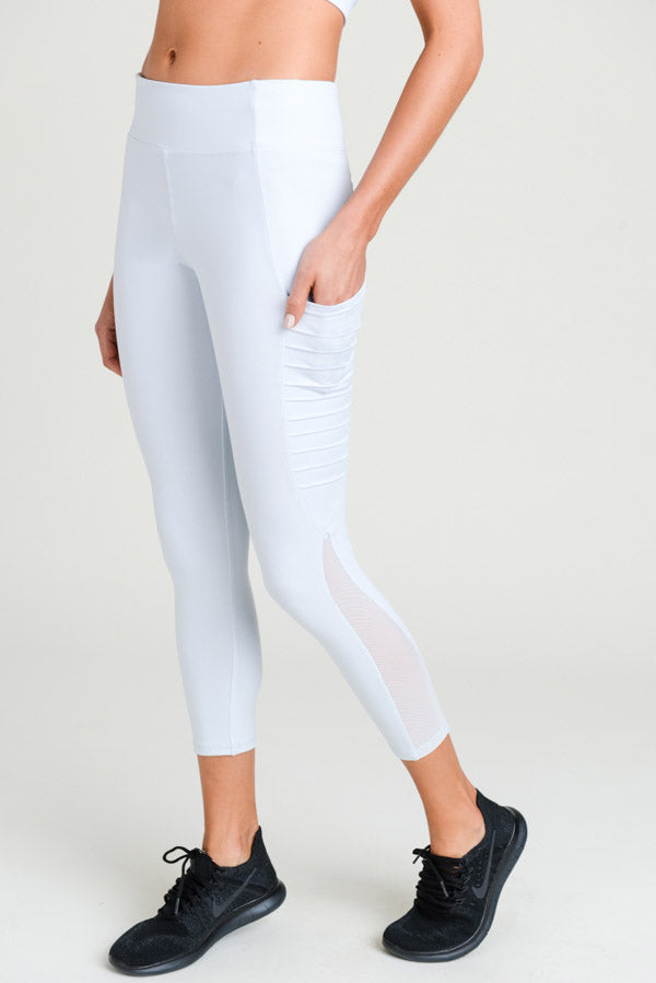 Moto Ribbed Splice Mesh Pocket Leggings in Sky Blue | Allure Apparel Co