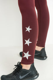 Triple Stars Full Leggings in Burgundy | Allure Apparel Co