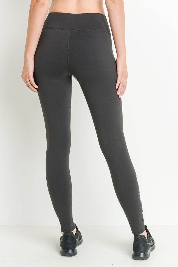 Triple Stars Full Leggings in Charcoal Grey | Allure Apparel Co